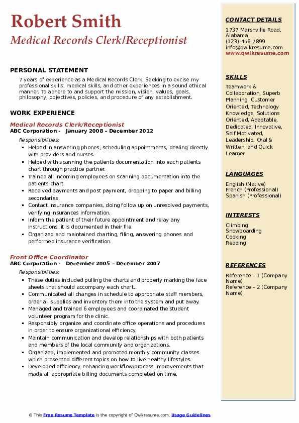 Medical Records Clerk/Receptionist Resume Sample