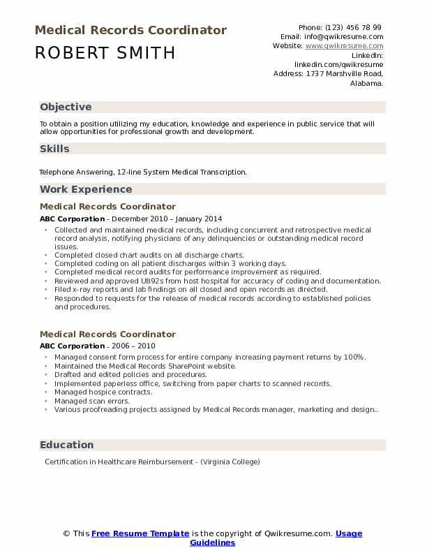 Medical Records Coordinator Resume Model