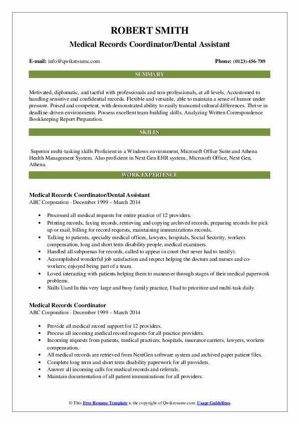 Medical Records Coordinator/Dental Assistant Resume Model
