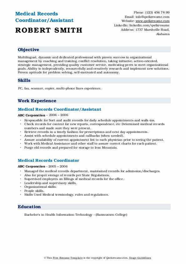 Medical Records Coordinator/Assistant Resume Template