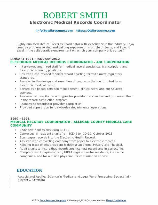 Electronic Medical Records Coordinator Resume Template