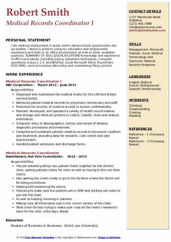 Medical Records Coordinator I Resume Template