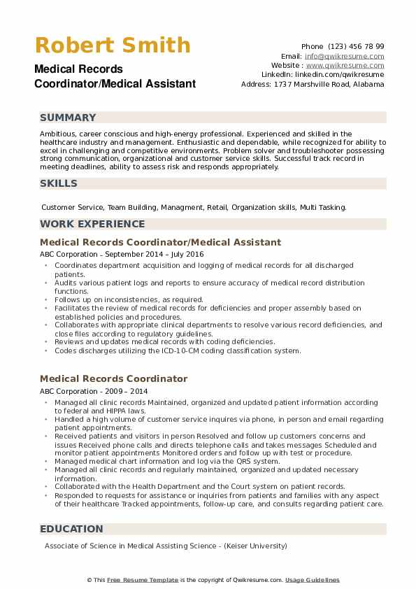 medical records coordinator resume samples