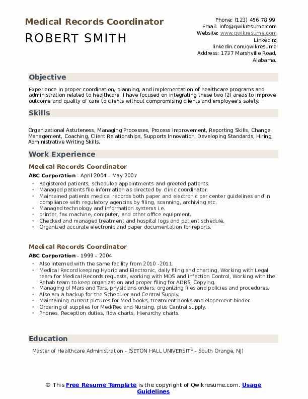 Medical Records Coordinator Resume example