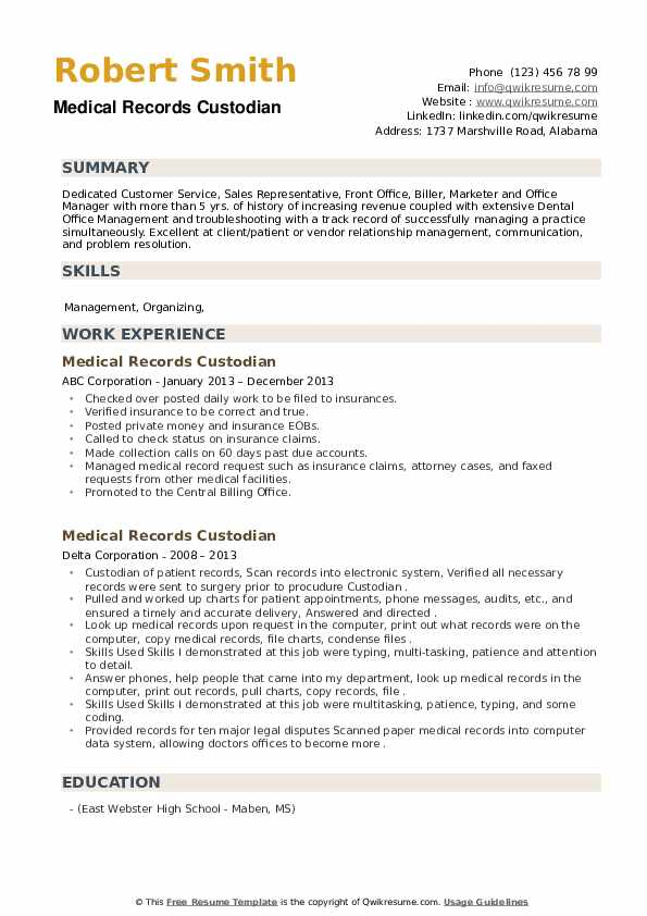 Medical Records Custodian Resume example