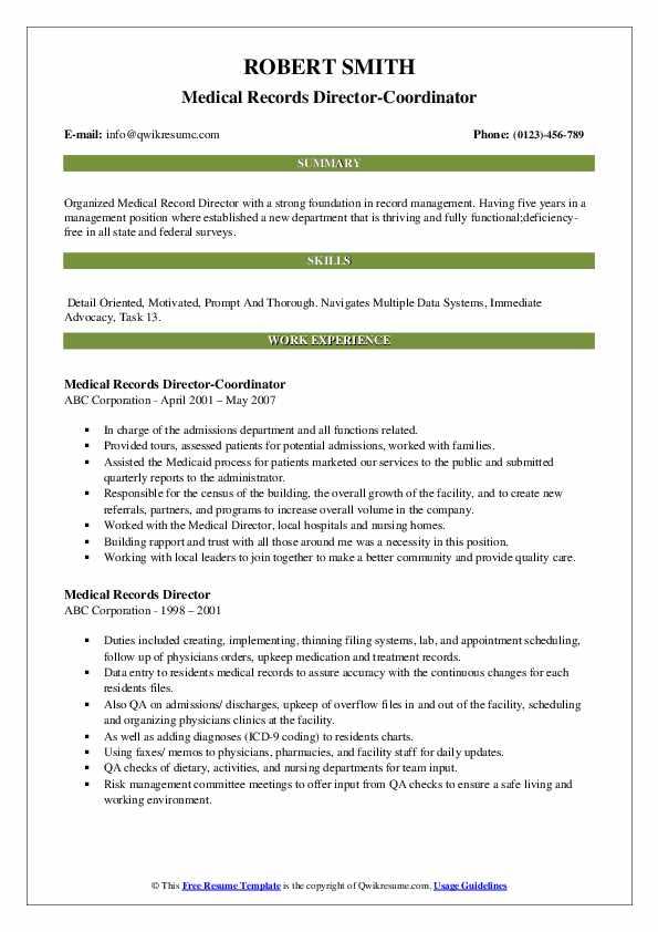 Medical Records Director-Coordinator Resume Model
