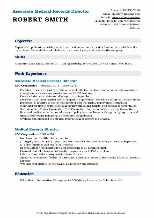 Associate Medical Records Director Resume Example