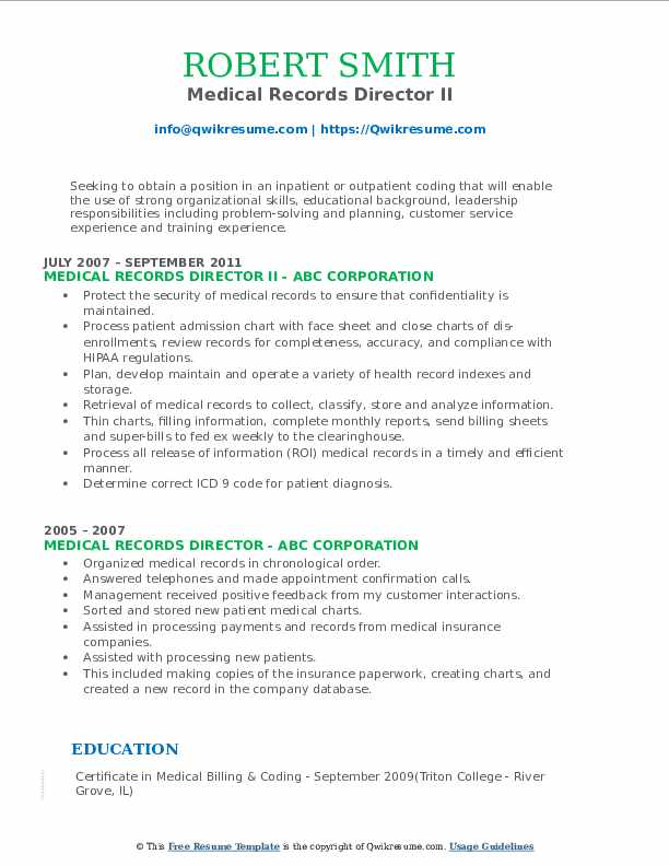 Medical Records Director II Resume Example
