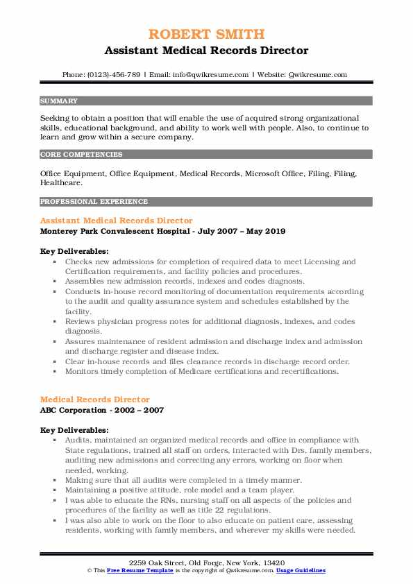 Assistant Medical Records Director Resume Template
