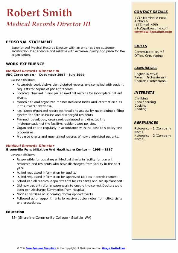 Medical Records Director III Resume Template