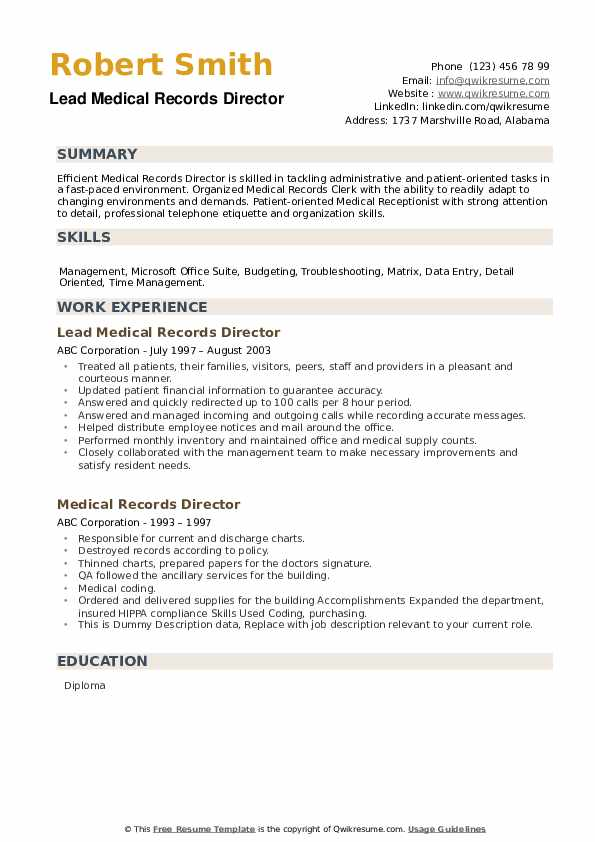 Lead Medical Records Director Resume Format