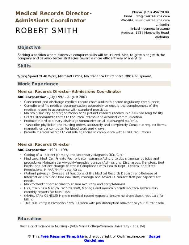 Medical Records Director-Admissions Coordinator Resume Example