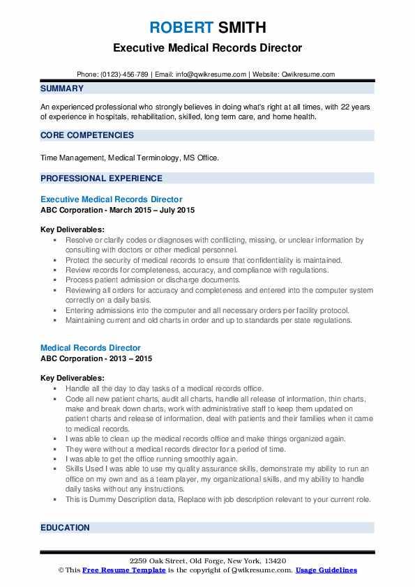 Executive Medical Records Director Resume Model