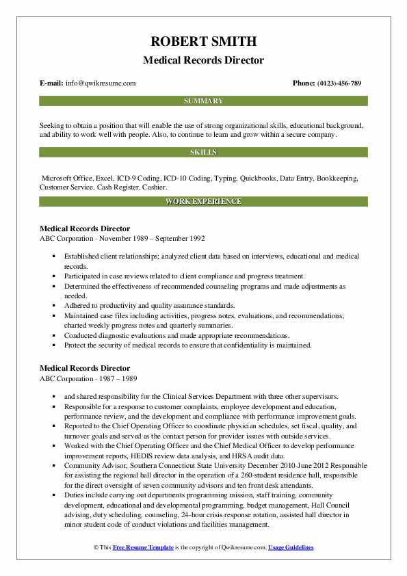 Medical Records Director Resume example