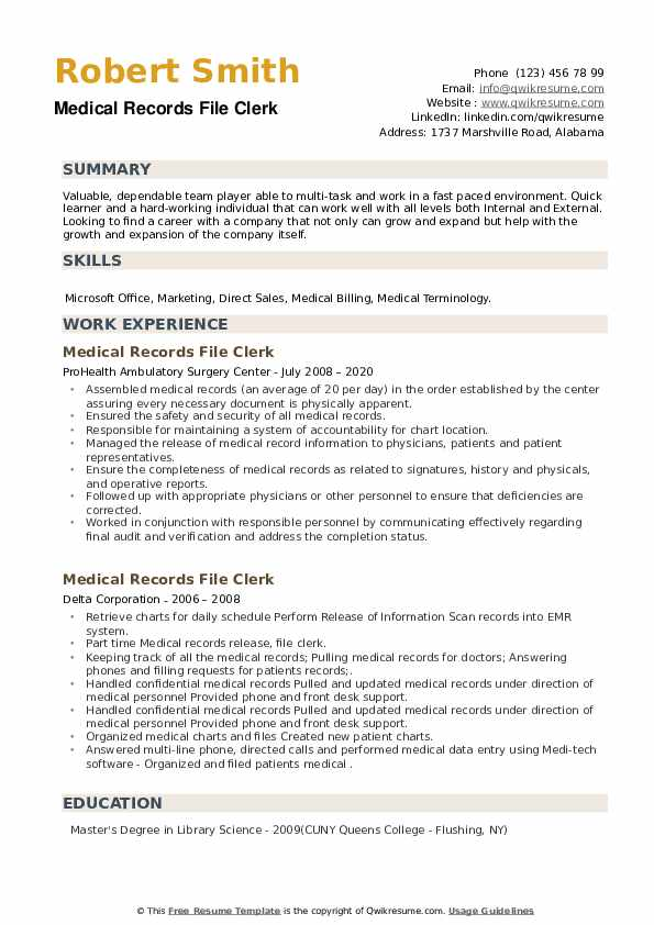 Medical Records File Clerk Resume example