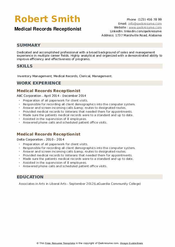 Medical Records Receptionist Resume example