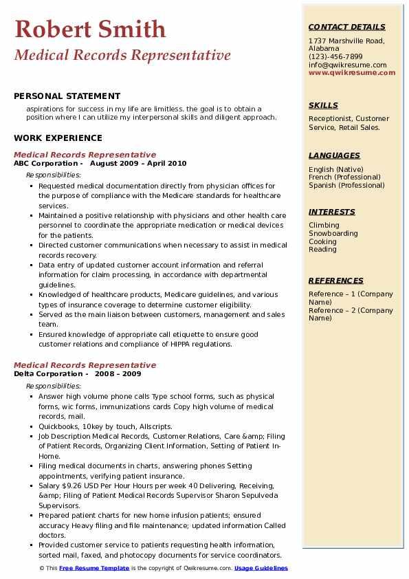 Medical Records Representative Resume example