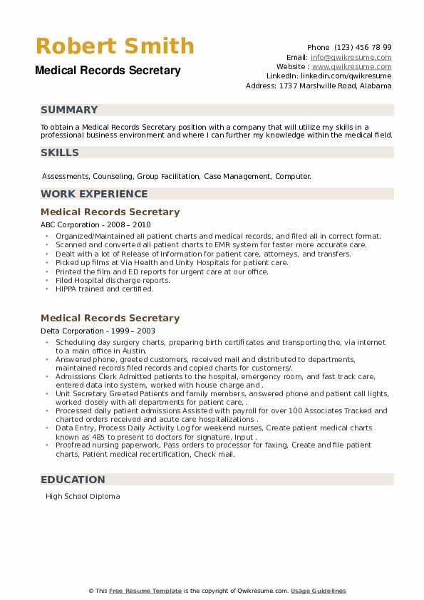 Medical Records Secretary Resume example