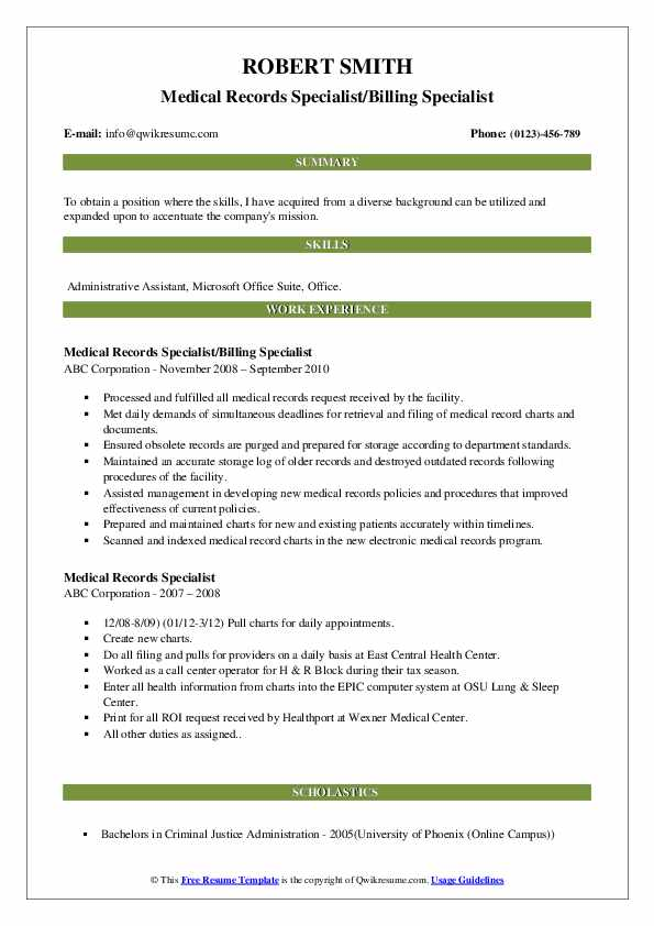Medical Records Specialist/Billing Specialist Resume Sample