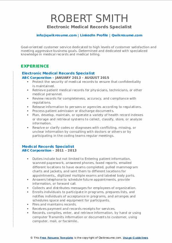 Electronic Medical Records Specialist Resume Format