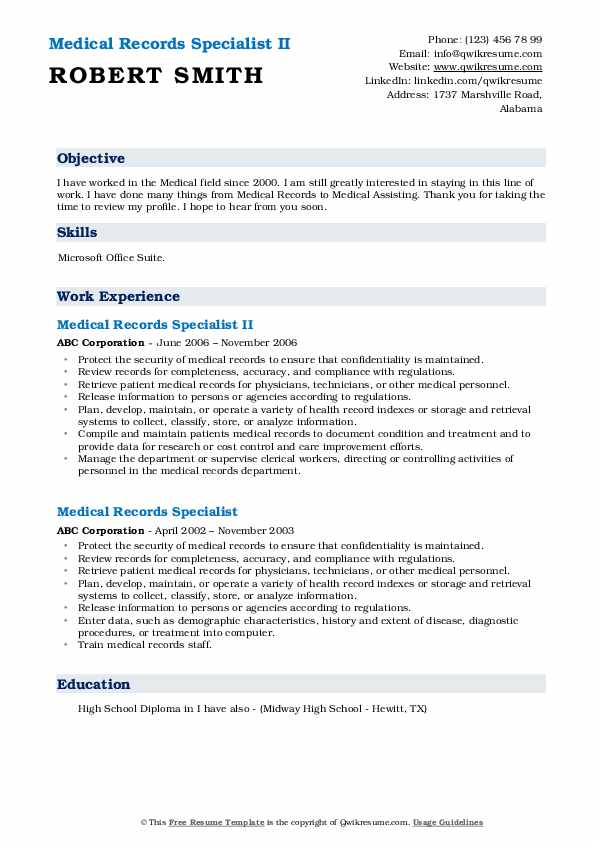 Medical Records Specialist II Resume Template