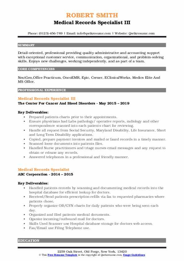 Medical Records Specialist III Resume Example