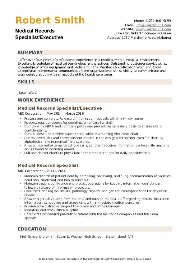 Medical Records Specialist/Executive Resume Model