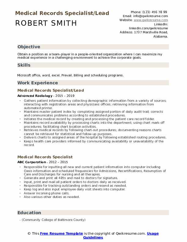 Medical Records Specialist/Lead  Resume Example