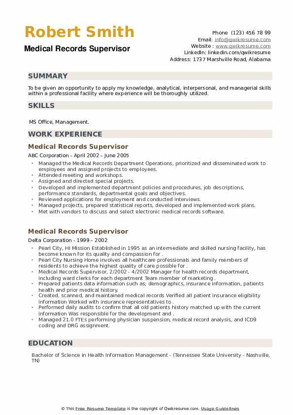 Medical Records Supervisor Resume example