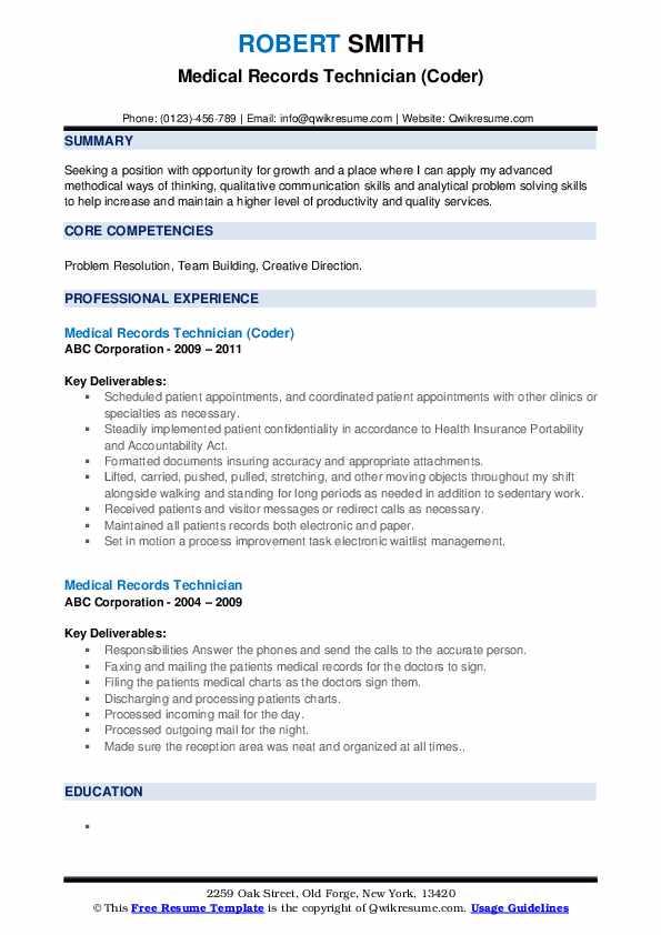 medical records technician resume samples  qwikresume