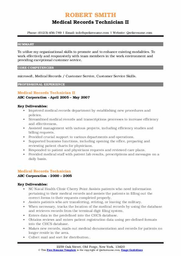 Medical Records Technician Resume Samples Qwikresume