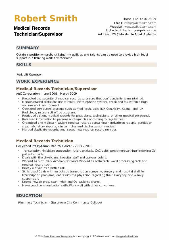 medical records technician resume samples