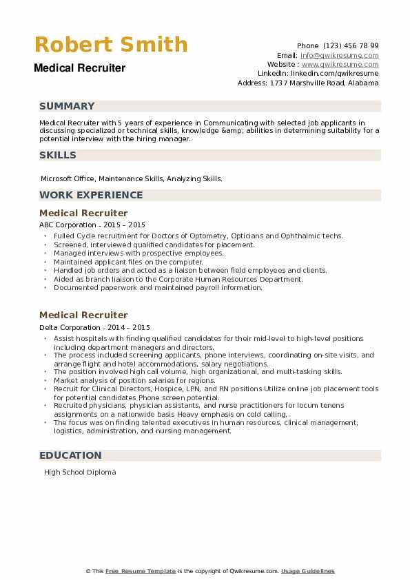 Medical Recruiter Resume example