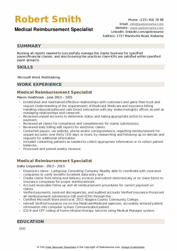 Medical Reimbursement Specialist Resume example