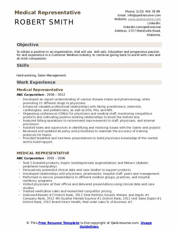 Resume for medical representative in word