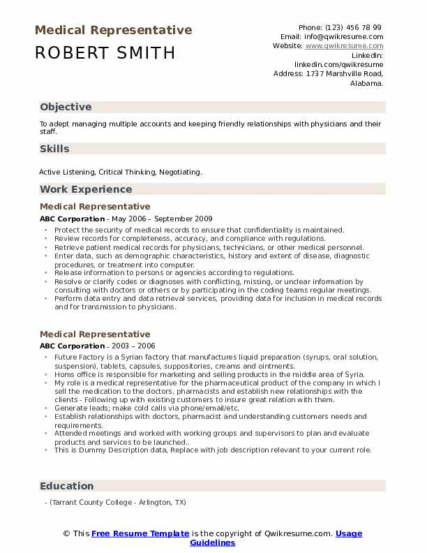 Medical Representative Resume example