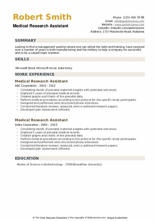 Medical Research Assistant Resume example