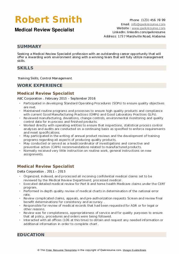 Medical Review Specialist Resume example