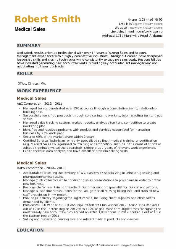 Medical Sales Resume example