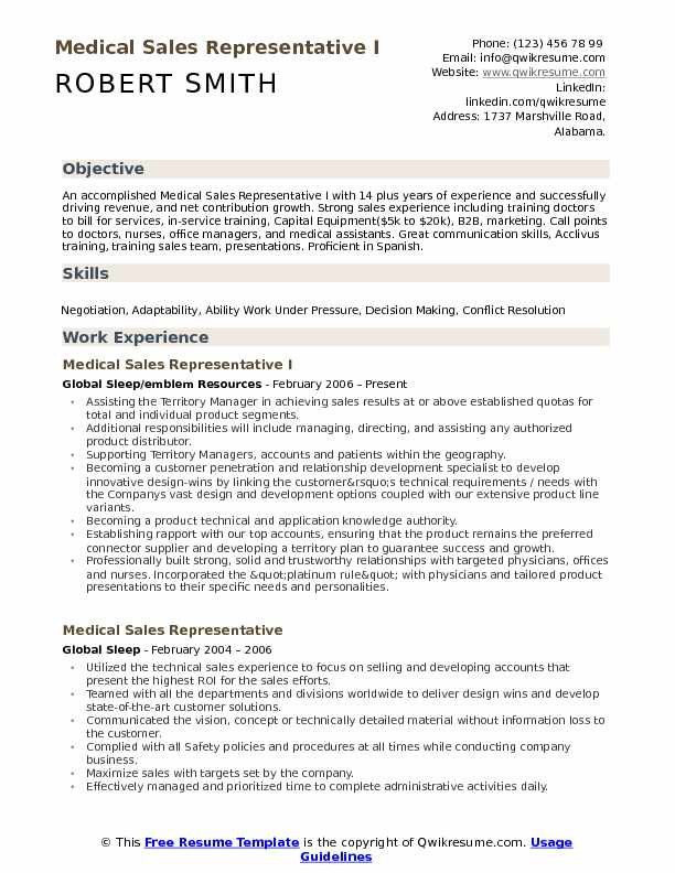 Medical Sales Representative Resume Samples | QwikResume