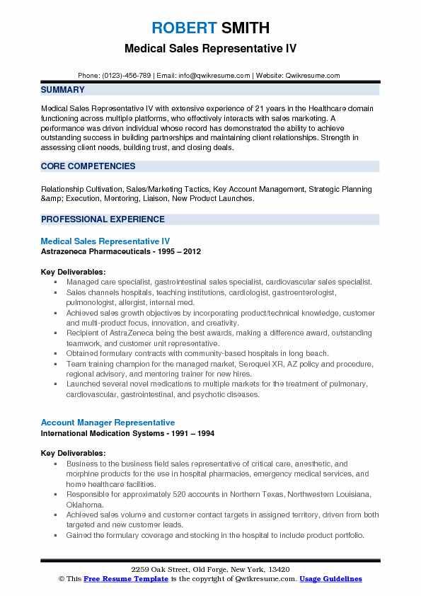 Medical Sales Representative IV Resume Example