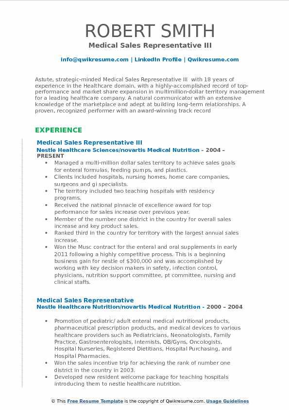 Medical Sales Representative III Resume Format