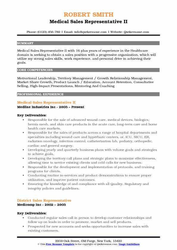 medical sales representative resume samples
