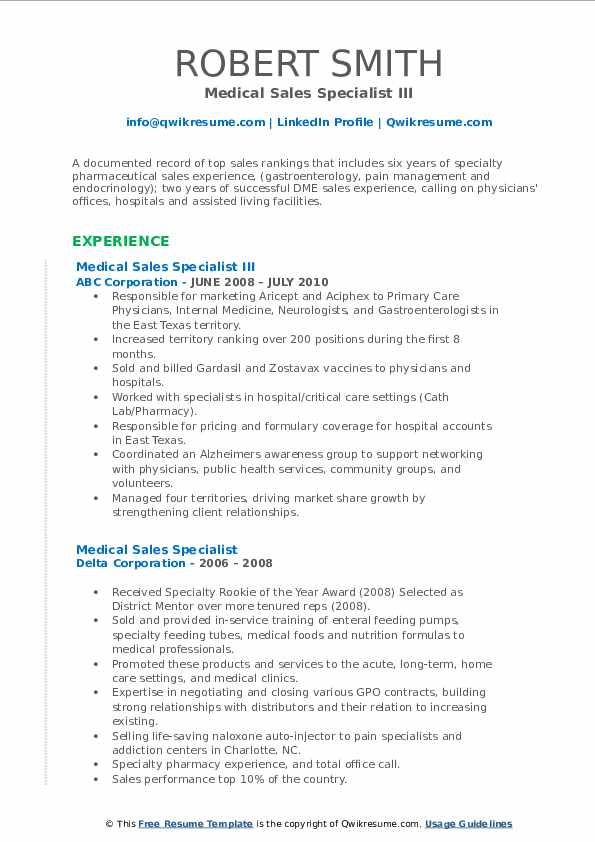 Medical sales resume summary