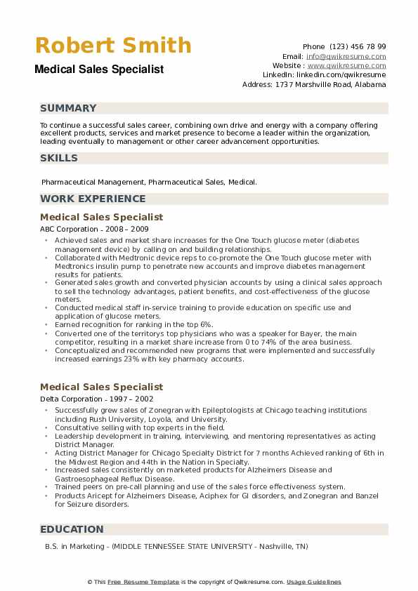Medical Sales Specialist Resume example