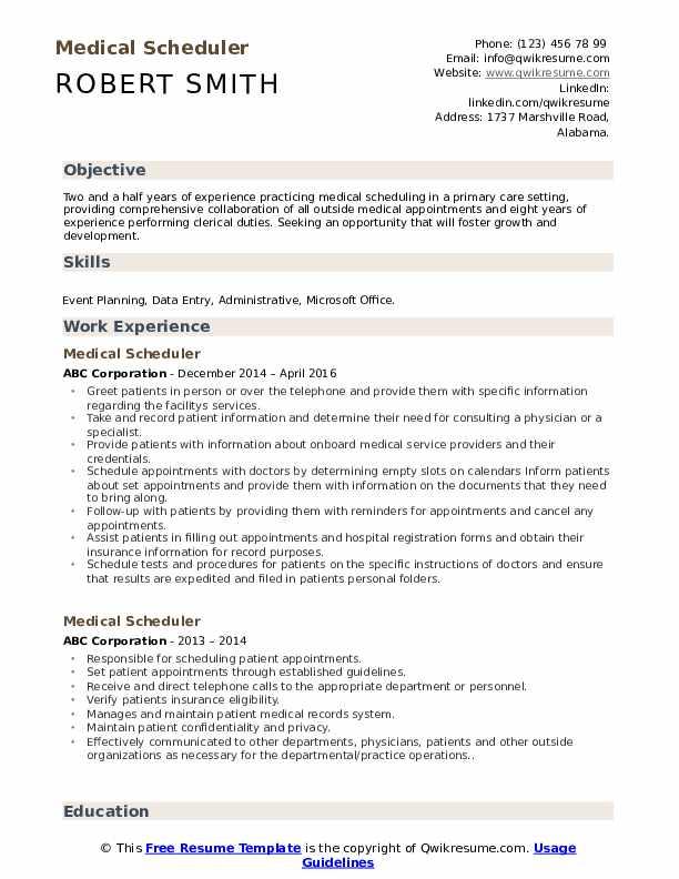 Medical Scheduler Resume Format