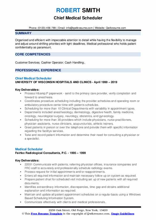 Chief Medical Scheduler Resume Template