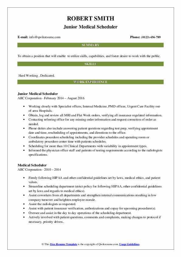 Junior Medical Scheduler Resume Example