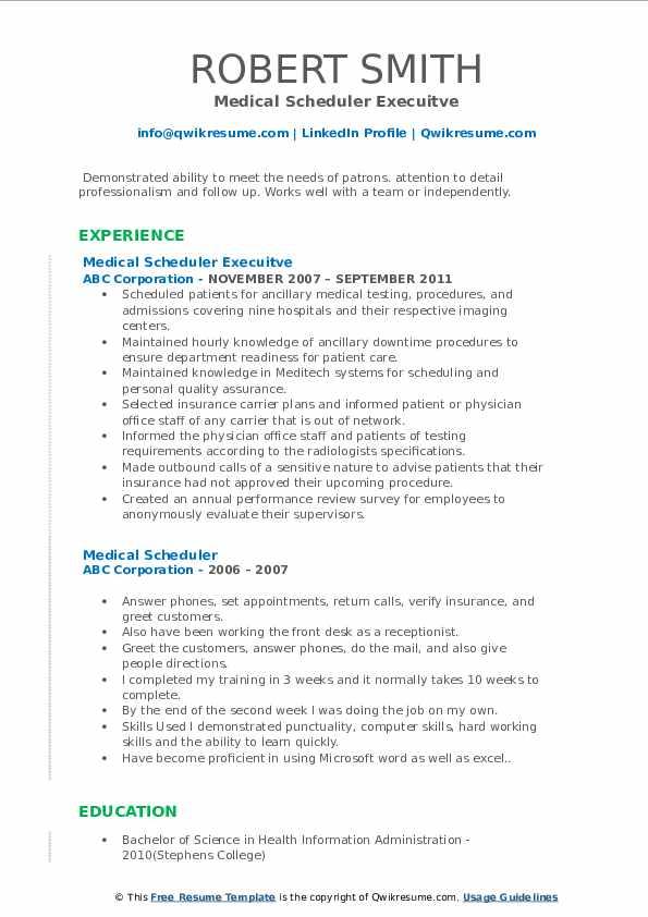 Medical Scheduler Execuitve Resume Template