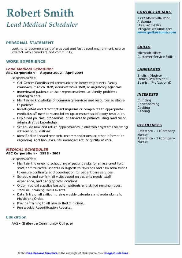 Lead Medical Scheduler Resume Sample
